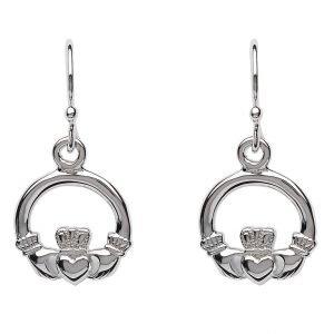 Silver Claddagh Drop Earrings Se2118
