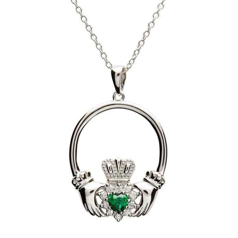 Silver Claddagh Green Cz Stone Set Necklace Sp1079Grcz