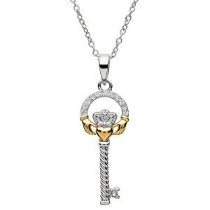 Silver Claddagh Key Pendant Encrusted With Swarovski Crystal Sw102