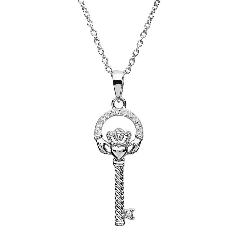 Silver Claddagh Key Pendant Encrusted With Swarovski Crystals Sw103