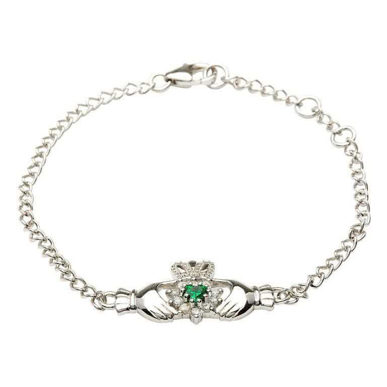 Silver Claddagh Stone Set Bracelet Sb1079Grcz