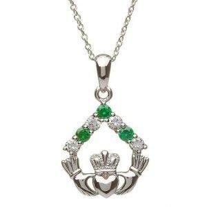 Silver Claddagh Stone Set Necklace Sp2049