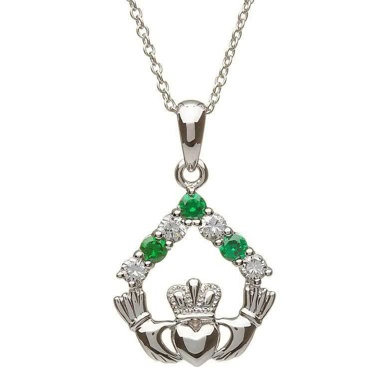 Silver Claddagh Stone Set Necklace Sp2049