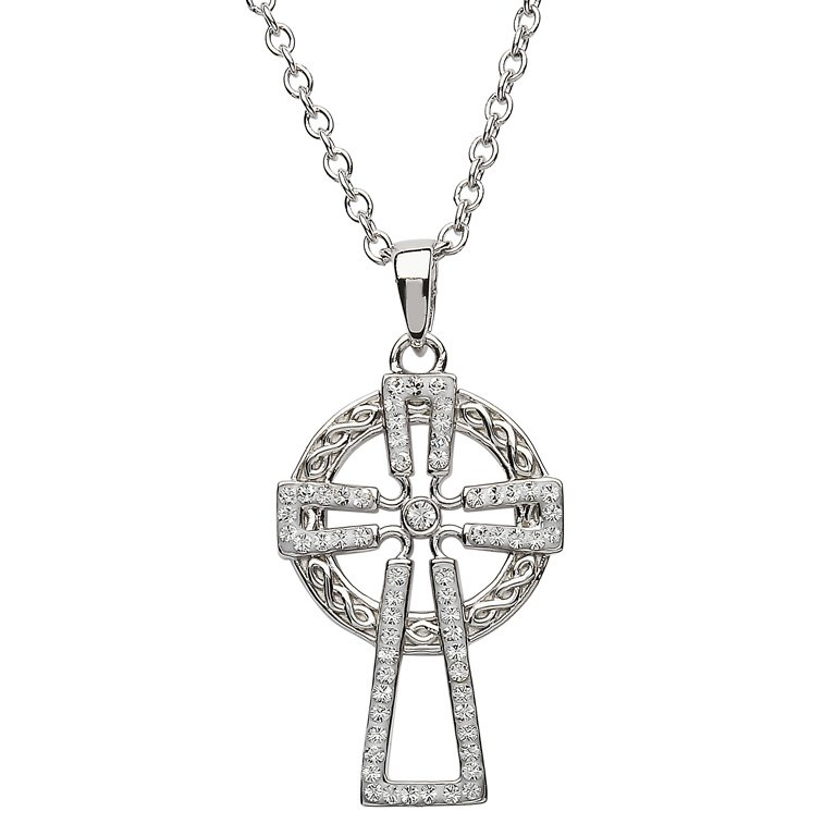 Silver Cross Encrusted With White Swarovski Crystal Sw95
