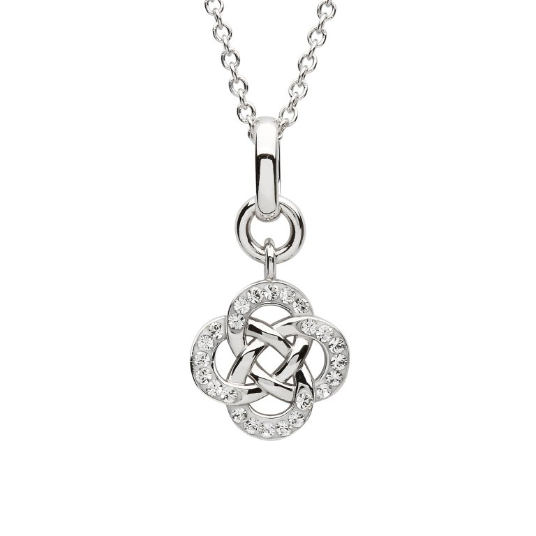 Silver Crystal Set Celtic Style Pendant Sw157