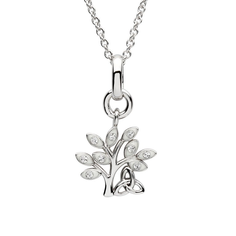 Silver Crystal Set Tree Of Life Pendant Sw156