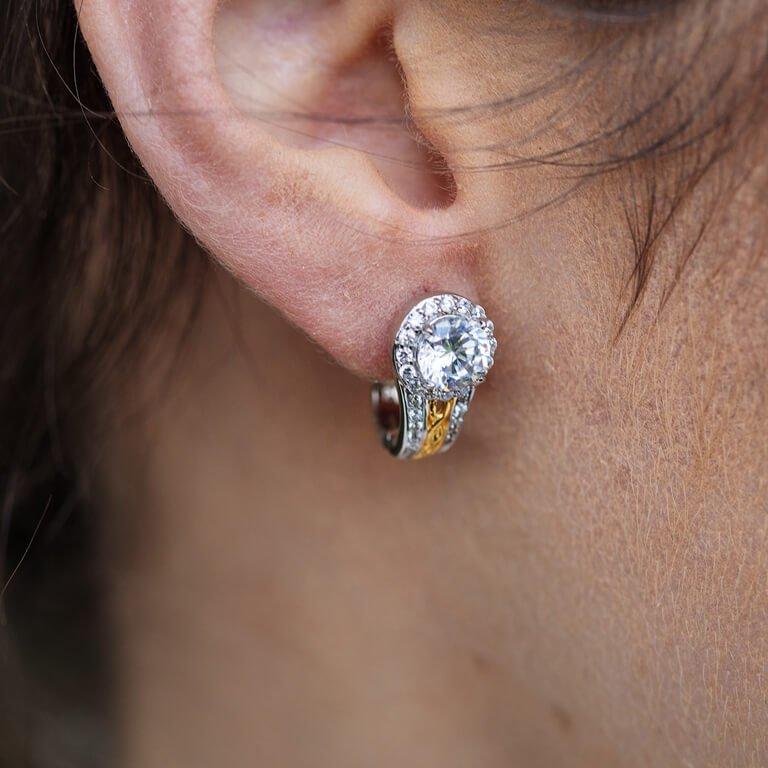 Silver Cz Halo Earrings Se2098Cz_3