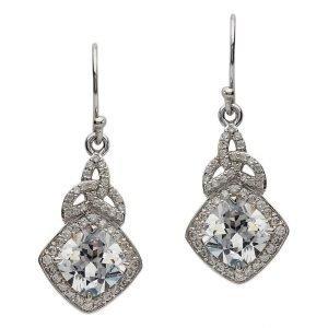 Silver Cz Trinity Knot Halo Earrings Se2101Cz