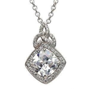 Silver Cz Trinity Knot Halo Necklace Sp2100Cz