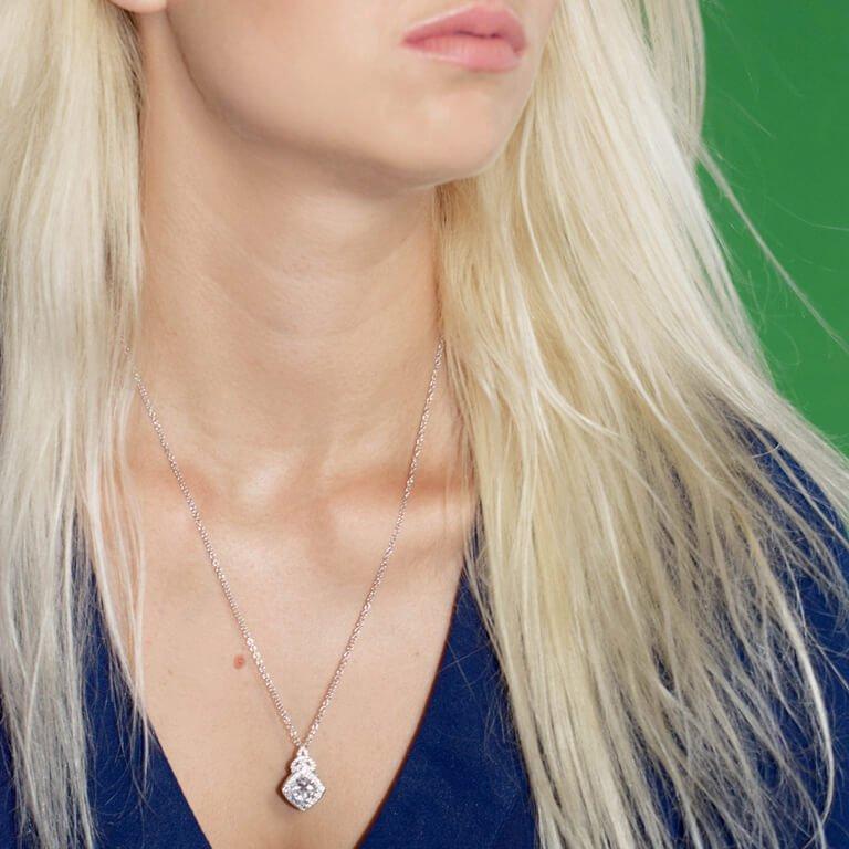 Silver Cz Trinity Knot Halo Necklace Sp2100Cz_2
