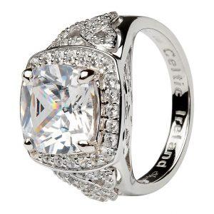 Silver Cz Trinity Knot Halo Ring Sl101Cz