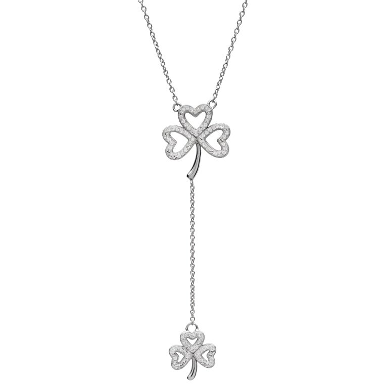 Silver Double Shamrock Drop Pendant Encrusted With Swarovski Crystals Sw139