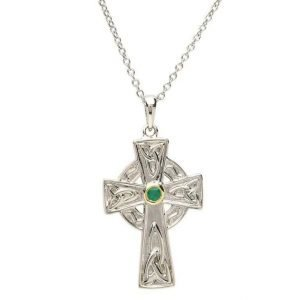 Silver Emerald Set Celtic Knot Design Cross Sf27