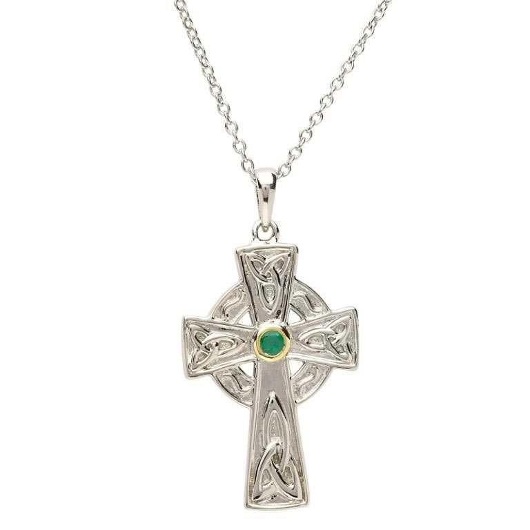 Silver Emerald Set Celtic Knot Design Cross Sf27