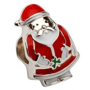 Silver Enamel Santa Bead Td213