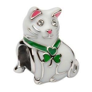 Silver Enamel Shamrock Cat Bead Td227