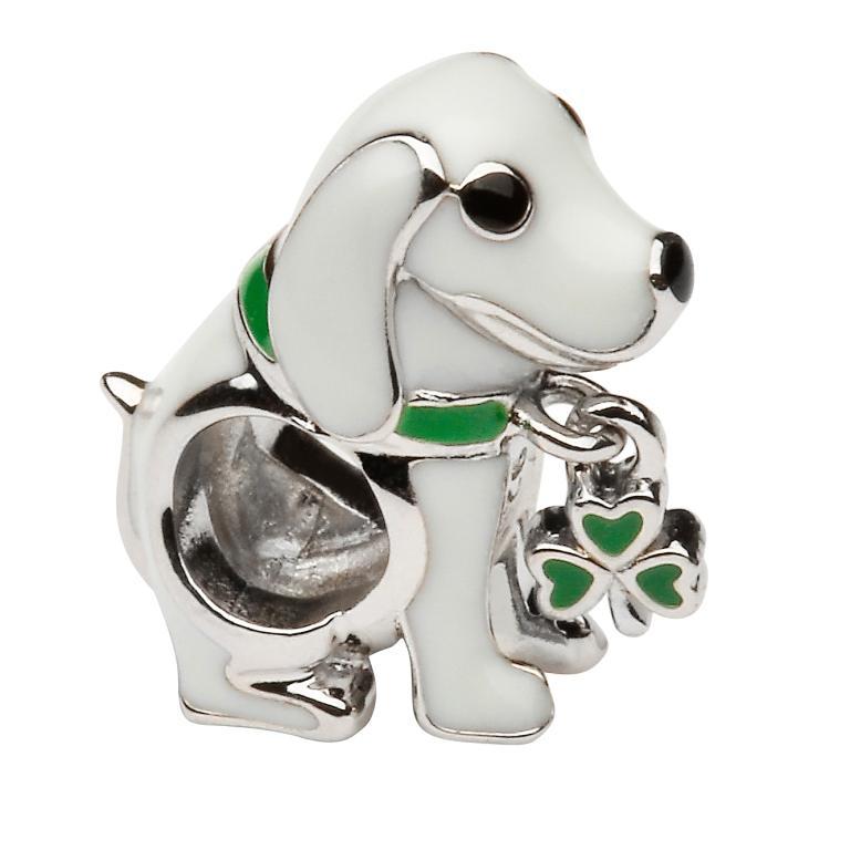 Silver Enamel Shamrock Dog Bead Td228