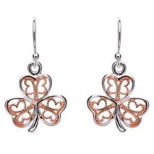 Silver Filigree Rose Gold Plated Shamrock Earring Se2085