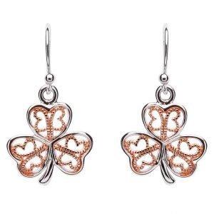 Silver Filigree Rose Gold Plated Shamrock Earring Se2085
