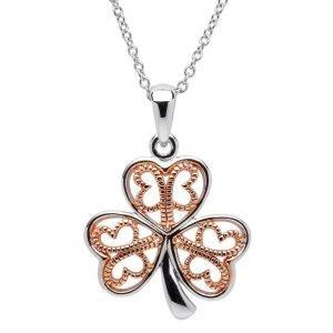 Silver Filigree Rose Gold Plated Shamrock Necklace Sp2084