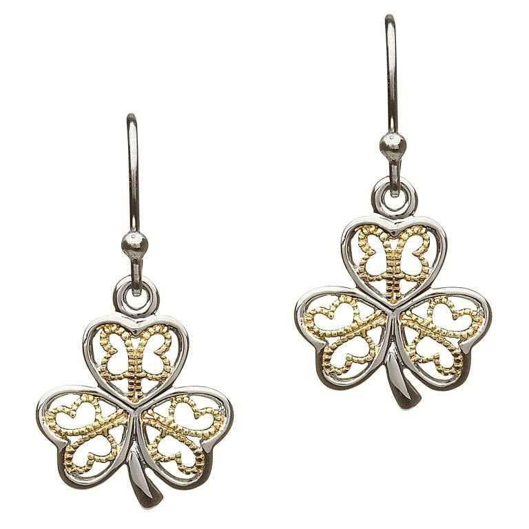 Silver Filigree Shamrock Earrings Se2052