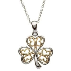 Silver Filigree Shamrock Necklace Sp2051