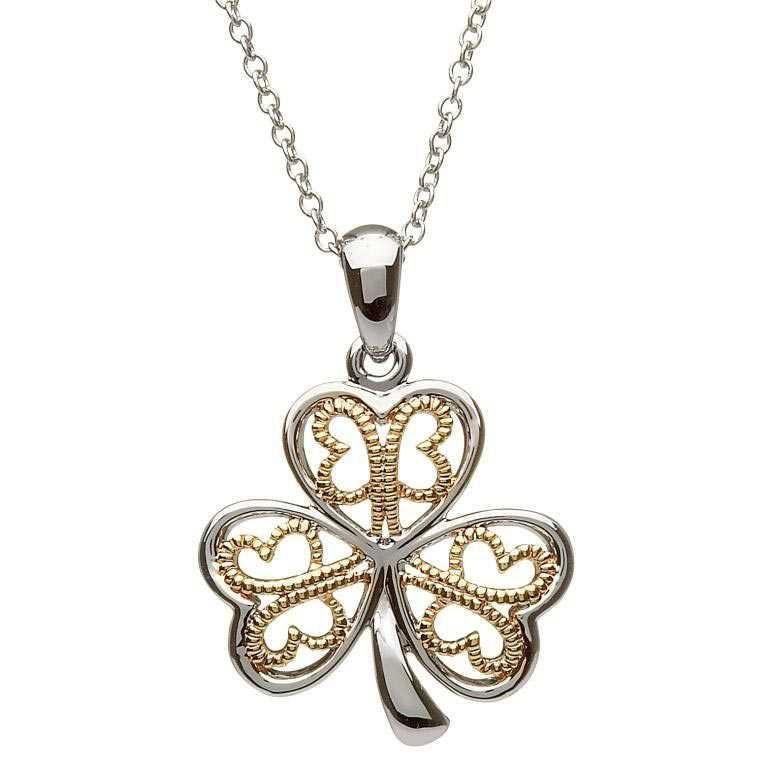 Silver Filigree Shamrock Necklace Sp2051