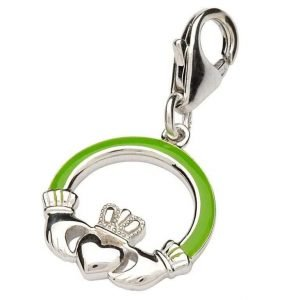 Silver Green Claddagh Charm Tc3