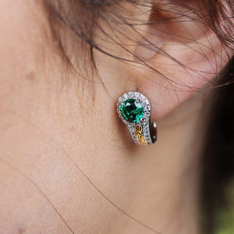 Silver Green Cz Halo Earrings Se2098Grcz_3