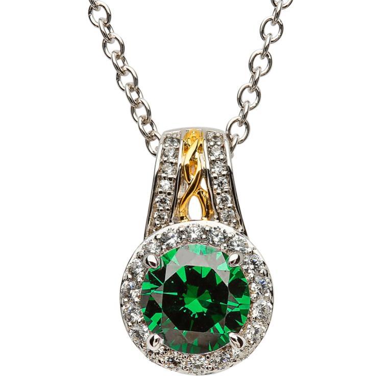 Silver Green Cz Halo Necklace Sp2097Grcz