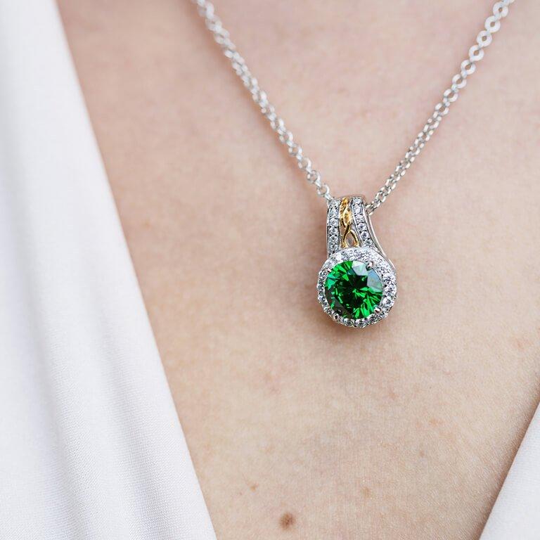 Silver Green Cz Halo Necklace Sp2097Grcz _3