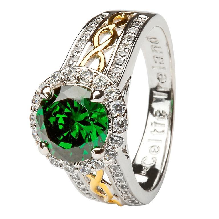 Silver Green Cz Halo Ring Sl100Grcz
