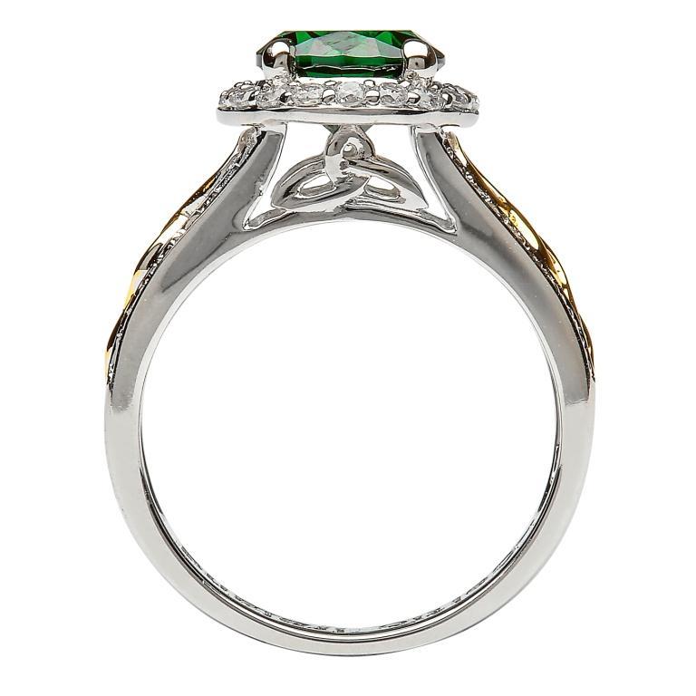 Silver Green Cz Halo Ring Sl100Grcz_2