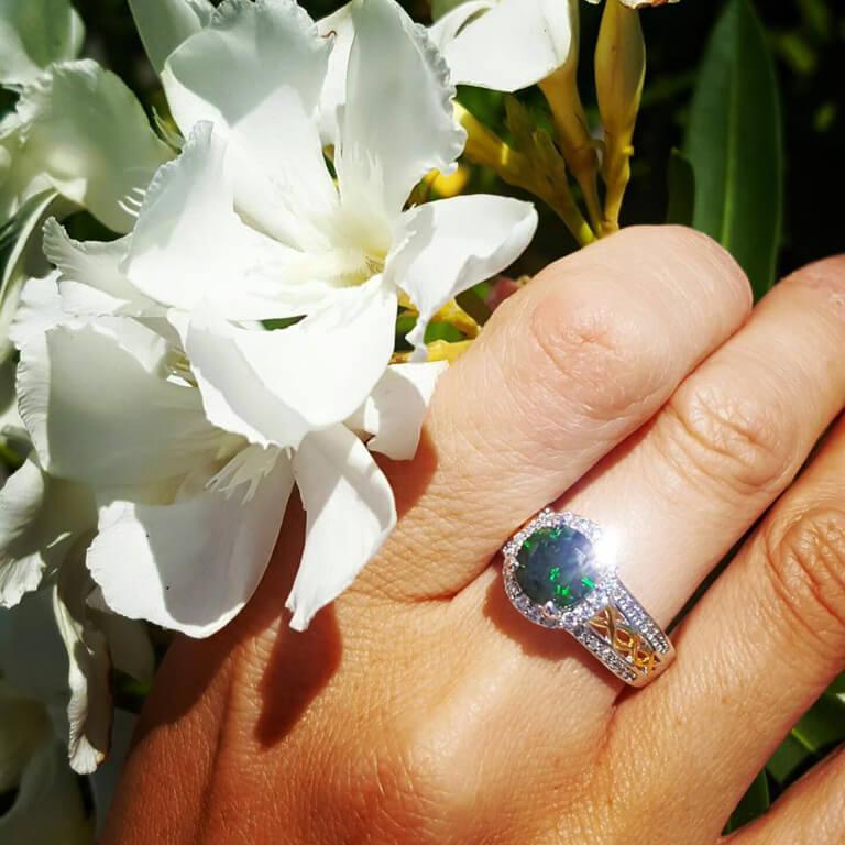 Silver Green Cz Halo Ring Sl100Grcz_3