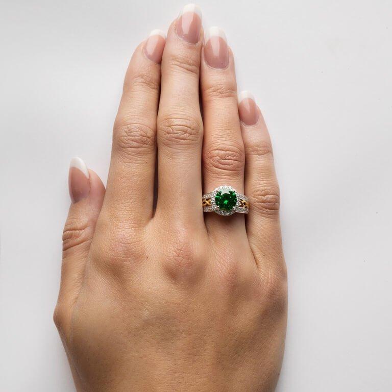 Silver Green Cz Halo Ring Sl100Grcz_4