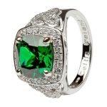 Silver Green Cz Trinity Knot Halo Ring Sl101Grcz - Gallery Thumbnail Image