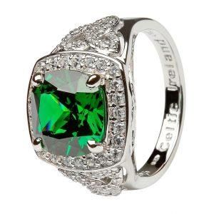 Silver Green Cz Trinity Knot Halo Ring Sl101Grcz
