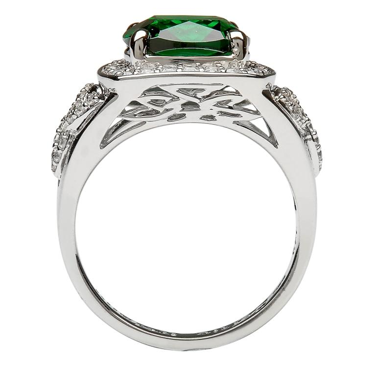 Silver Green Cz Trinity Knot Halo Ring Sl101Grcz_2
