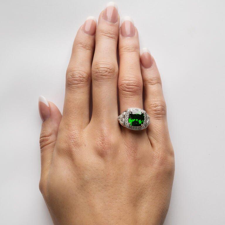 Silver Green Cz Trinity Knot Halo Ring Sl101Grcz_3