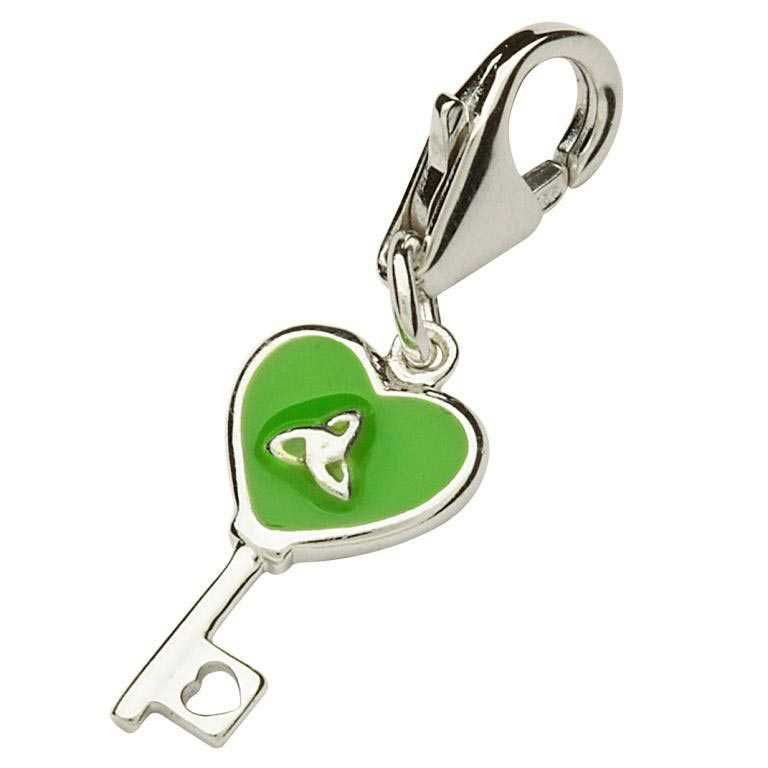 Silver Green Key Charm Tc6