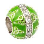 Silver Green Trinity Cz Enamel Td75 - Gallery Thumbnail Image