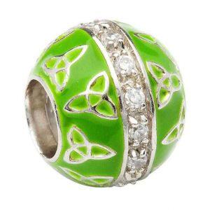 Silver Green Trinity Cz Enamel Td75