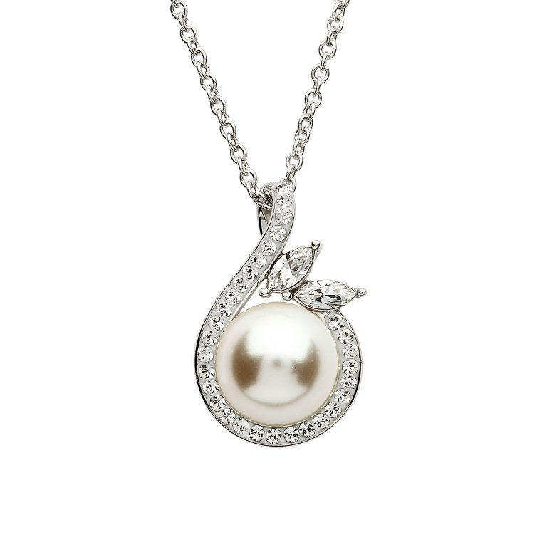 Silver Halo Twist Pearl Pendant Adorned With Swarovski Crystals St76