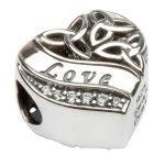 Silver Heart Shape Trinity Knot Love Bead Td210 - Gallery Thumbnail Image