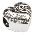 Silver Heart Shape Trinity Knot Stone Set Bead Td209 - Gallery Thumbnail Image
