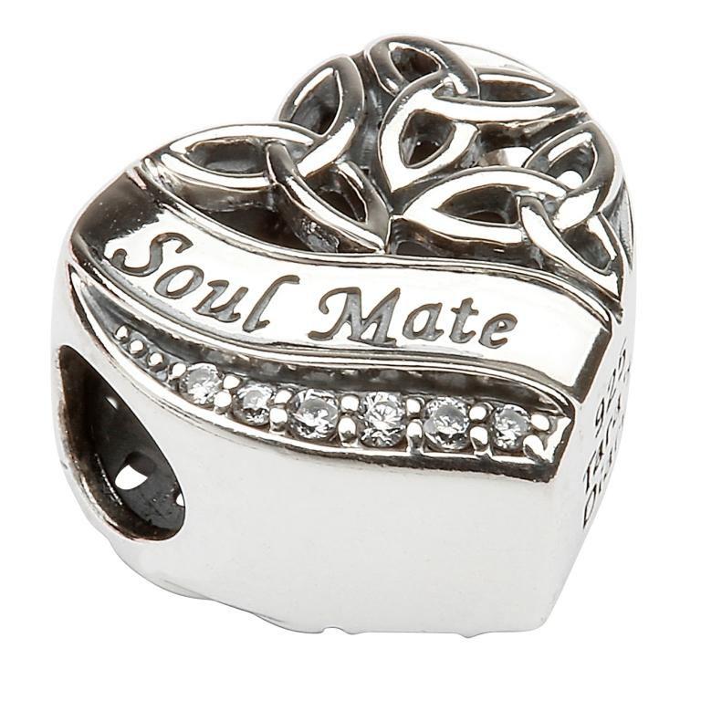 Silver Heart Shape Trinity Knot Stone Set Bead Td209