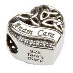 Silver Heart Shape Trinity Knot Stone Set Bead Td209_2 - Gallery Thumbnail Image