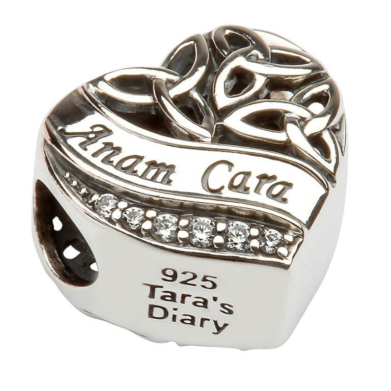 Silver Heart Shape Trinity Knot Stone Set Bead Td209_2