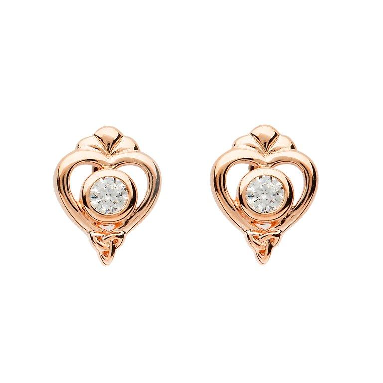 Silver Heart Shape Trinity Stud Earrings Set A Crystal Td238