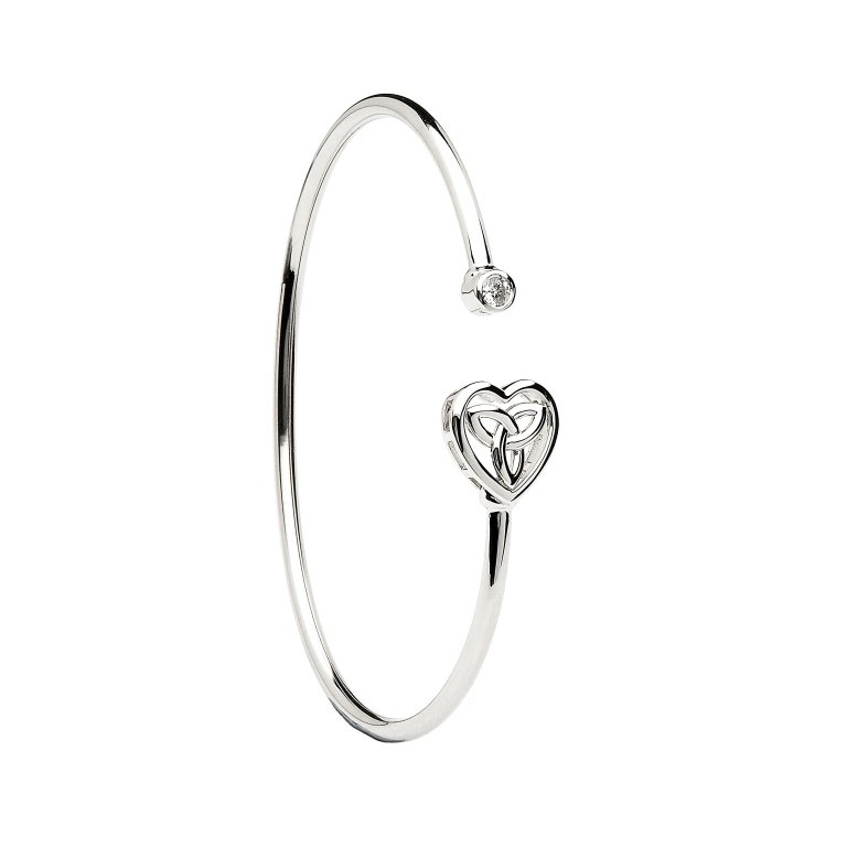 Silver Heart Trinity Knot Bangle Td245